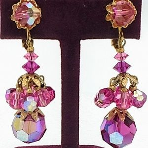 Vintage Pink Crystal Chandelier Earrings